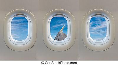 kék, ablak, repülőgép, sky.
