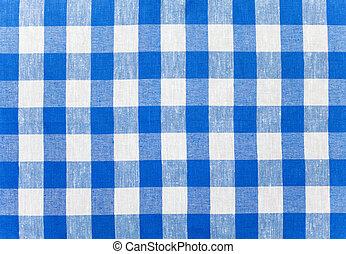 kék, abrosz, kockás, szerkezet
