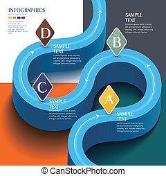 kék, alapismeretek, elvont, infographic, vektor, út, futuristic, 3