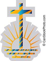 kék, apostoli, jelkép, sárga, vallás, vektor, ábra, háttér, új, fehér