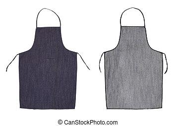 kék, apron., hát, eleje kilátás, konyha
