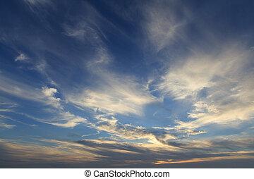 kék, arany-, fény, ég, körképszerű, drámai