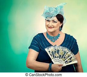 kék, arcszín, nő, rajongó, érett