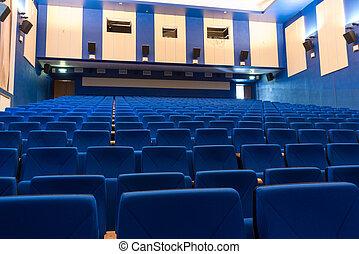 kék, arm-chairs, mozi