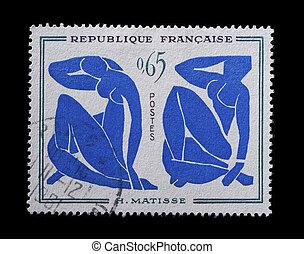 kék, bélyeg, meztelen