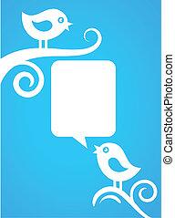 kék, backgound, madarak