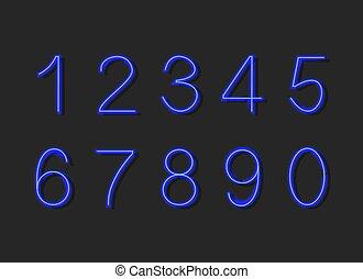 kék, backgroud, lights., elvont, neon, elszigetelt, gyűjtés, sötét, izzó, vektor, számok