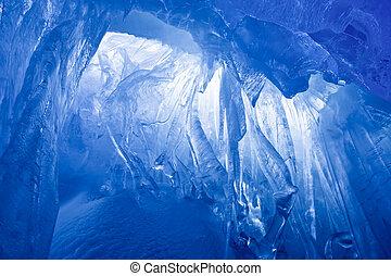 kék, barlang, jég