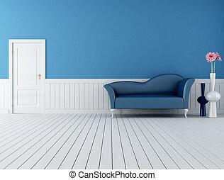 kék, belső, fehér, retro