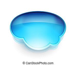 kék, beszéd, vektor, buborék, sima