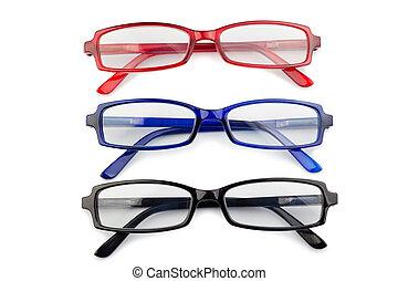 kék, black piros, szemüveg