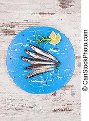 kék, board., friss, konyha, szardínia