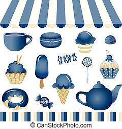kék, bolt, cukorka