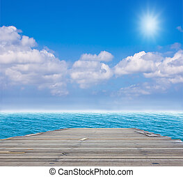 kék, bridzs, erdő, öreg, tenger