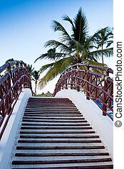 kék, bridzs, lépcsőház, ég, pálma, alatt