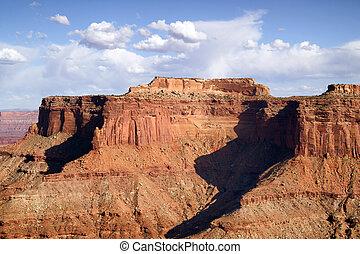 kék, buttes, elhomályosul, canyonlands, kifulladt, ég, kanyon, méltóságteljes, schafer