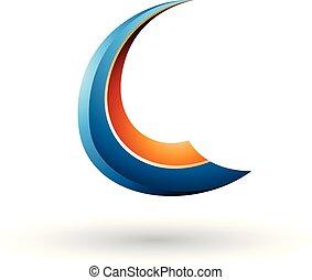 kék, c-hang, repülés, ábra, vektor, sima, levél, narancs