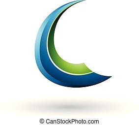 kék, c-hang, repülés, ábra, vektor, zöld, sima, levél