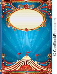 kék, cirkusz, háttér