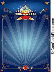 kék, cirkusz, varázslatos, poszter