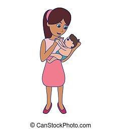kék, csecsemő, megvonalaz, karikatúra, anya