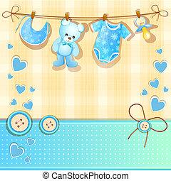 kék, csecsemő shower, kártya