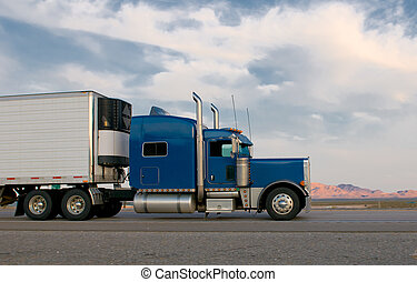 kék, csereüzlet, mozgató, autóút