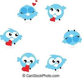 kék, csicsergés, elszigetelt, csinos, madarak, piros, piros white