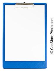 kék, csipeszes írótábla, dolgozat
