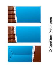 kék, csokoládé, package., csomagolás, tiszta