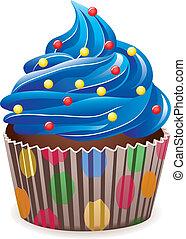 kék, cupcake