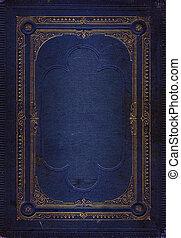kék, dekoratív, öreg, arany, megkorbácsol, keret, struktúra