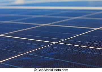 kék, derült, nap-, sky., detail., cellák, electricity., -, tető, ellen, kitakarít, fenntartható, fanyergek, létrehoz