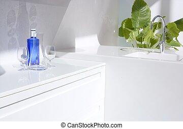 kék, detektívek, modern, konyha, víz palack, fehér