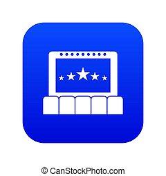 kék, digitális, mozi, ikon