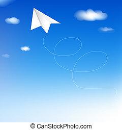 kék, dolgozat, ég, repülőgép