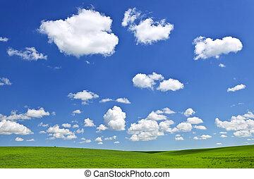 kék, dombok, ég, zöld, alatt, gördülő