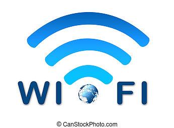 kék, drótnélküli távíró, jelkép, hálózat, földdel feltölt