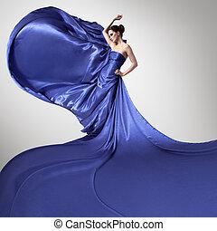 kék, dress., szépség, kisasszony, csapkodó