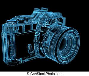kék, dslr, (3d, transparent), slr, xray, fényképezőgép