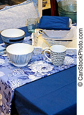 kék, edények és evőeszközök