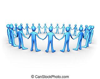 kék, egyesült, -, emberek