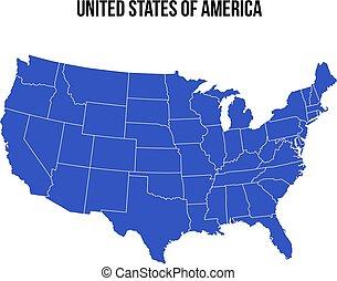 kék, egyesült, usa, map., egyesült államok, vector., amerika