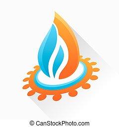 kék, elbocsát, jelkép, pohár, vektor, láng, nyugat, gear., narancs, ikon