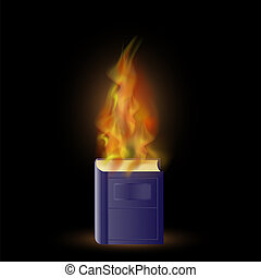 kék, elbocsát, könyv, láng, égető
