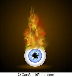 kék, elbocsát, láng, szem, égető