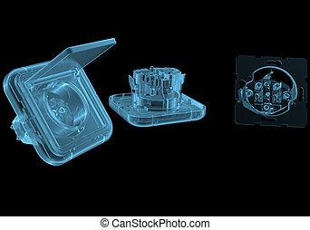 kék, elektromos, elszigetelt, fekete, kivezetés, áttetsző, röntgen
