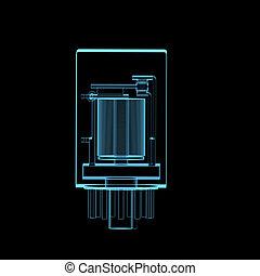 kék, elektromos, felvált, elszigetelt, fekete, áttetsző, röntgen