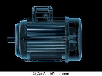 kék, elektromos, internals, elszigetelt, fekete, motor, áttetsző, röntgen