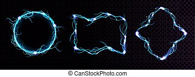 kék, elektromos, meteor, határok, keret, villámlás
